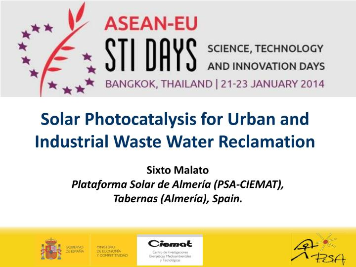 solar photocatalysis for urban and industrial waste water reclamation n.