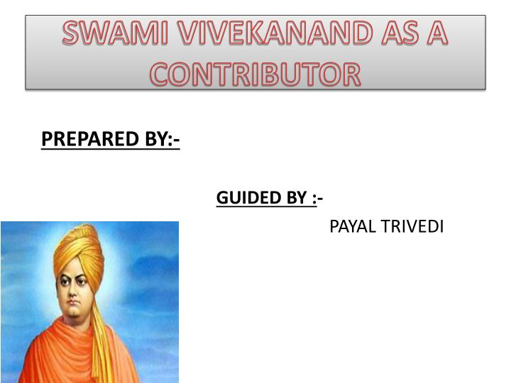swami vivekanand as a contributor n.