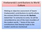 vivekananda s contributions to world culture