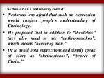 the nestorian controversy cont d