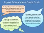 expert advice about credit cards