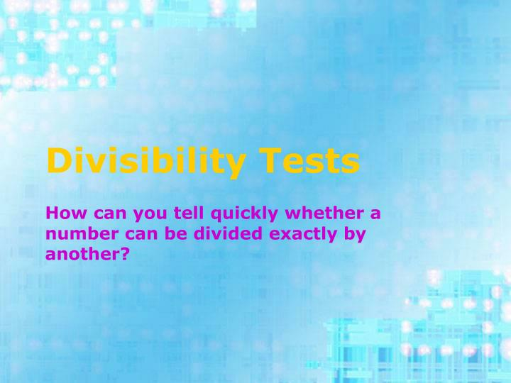 divisibility tests n.