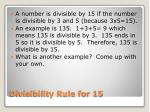 divisibility rule for 15