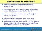 audit du site de production