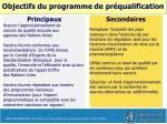 objectifs du programme de pr qualification