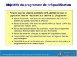 objectifs du programme de pr qualification1