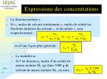 expressions des concentrations