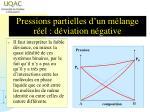 pressions partielles d un m lange r el d viation n gative