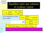 quilibre entre une solution et sa phase vapeur1