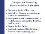 strategies for enhancing involvement and enjoyment