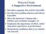 ways to create a supportive environment