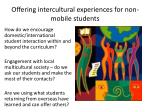 offering intercultural experiences for non mobile students