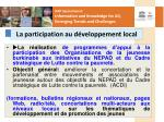 la participation au d veloppement local