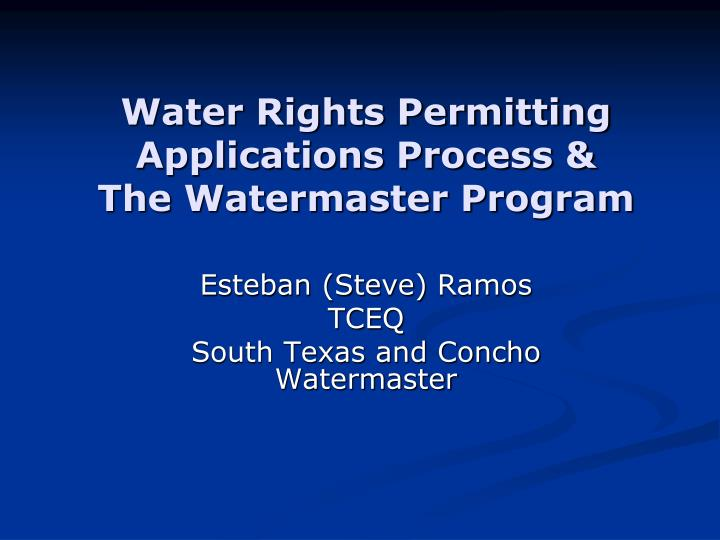 water rights permitting applications process the watermaster program n.