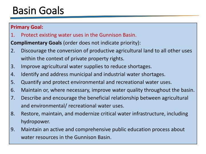 Basin Goals