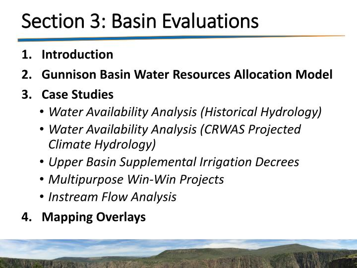 Section 3: Basin Evaluations