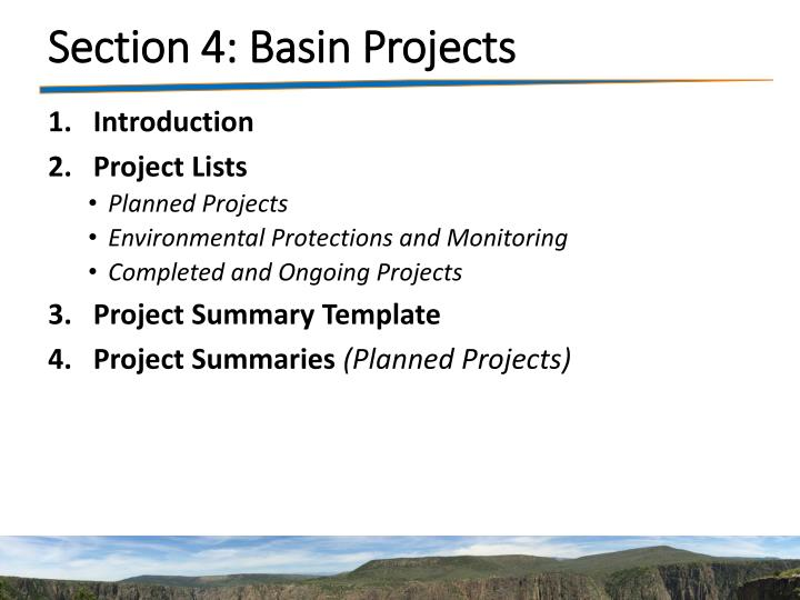 Section 4: Basin Projects