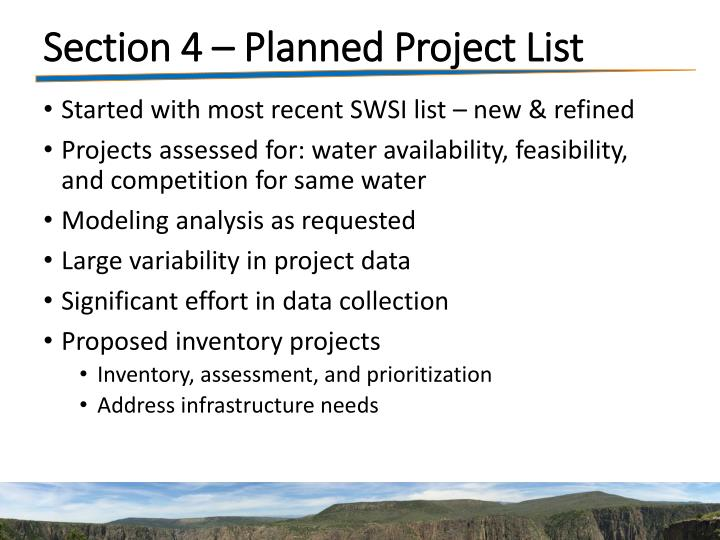Section 4 – Planned Project List