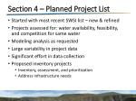 section 4 planned project list
