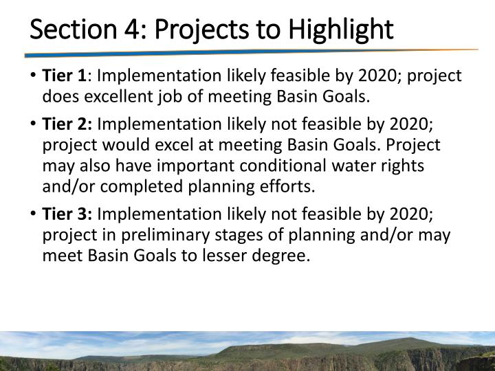 Section 4: Projects to Highlight
