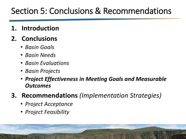 Section 5: Conclusions & Recommendations