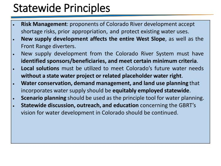 Statewide Principles