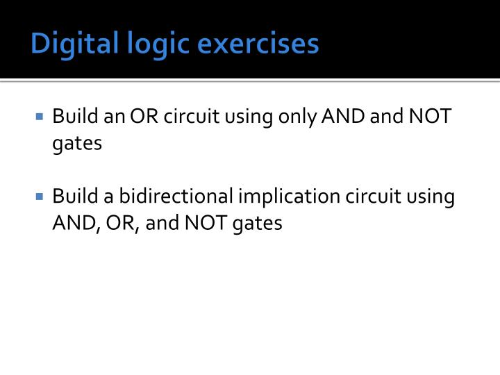 Digital logic exercises