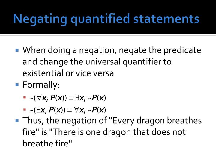 Negating quantified statements