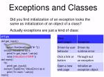 exceptions and classes