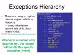 exceptions hierarchy