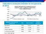 la construcci redueix poblaci activa i els indicadors avan ats retarden la recuperaci al 2014