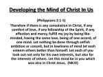 developing the mind of christ in us
