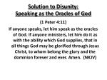 solution to disunity speaking as the oracles of god