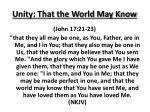 unity that the world may know