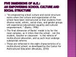 five dimensions of m e an empowering school culture and social structure