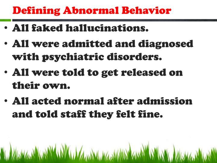 Defining Abnormal Behavior