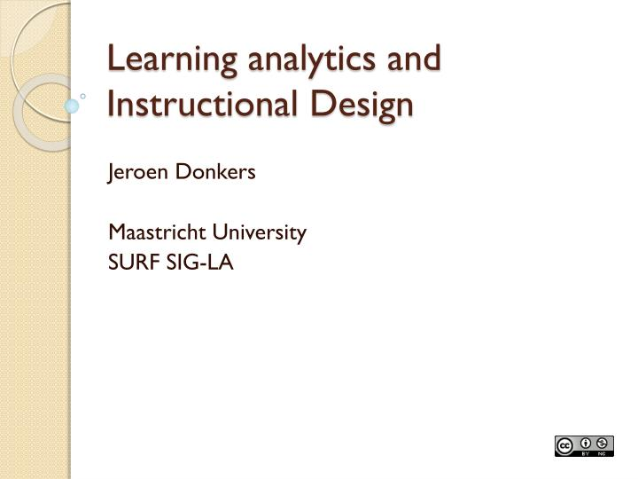 learning analytics and instructional design n.