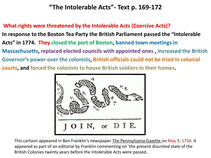 the intolerable acts text p 169 172 n.