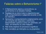 fal cias sobre o behaviorismo i