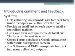 introducing comment and feedback systems