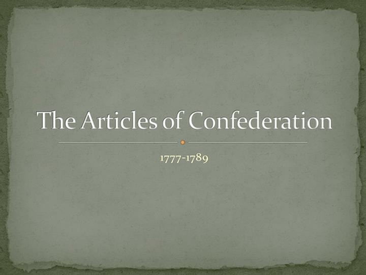 the articles of confederation n.