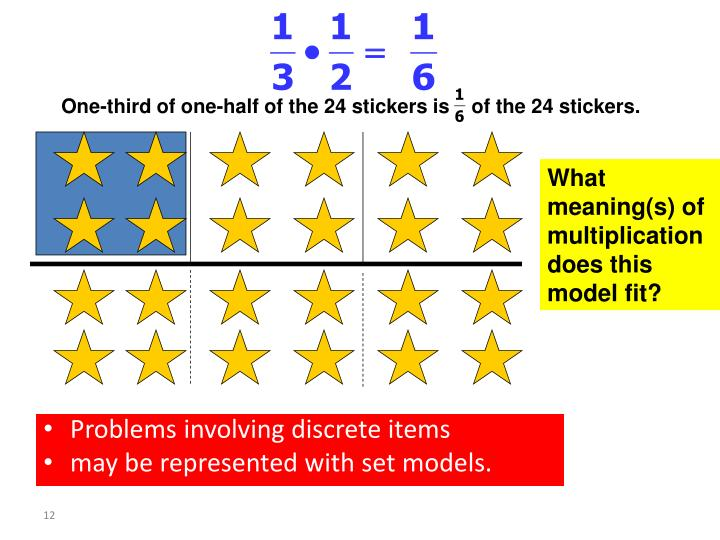 One-third of one-half of the 24 stickers is    of the 24 stickers.