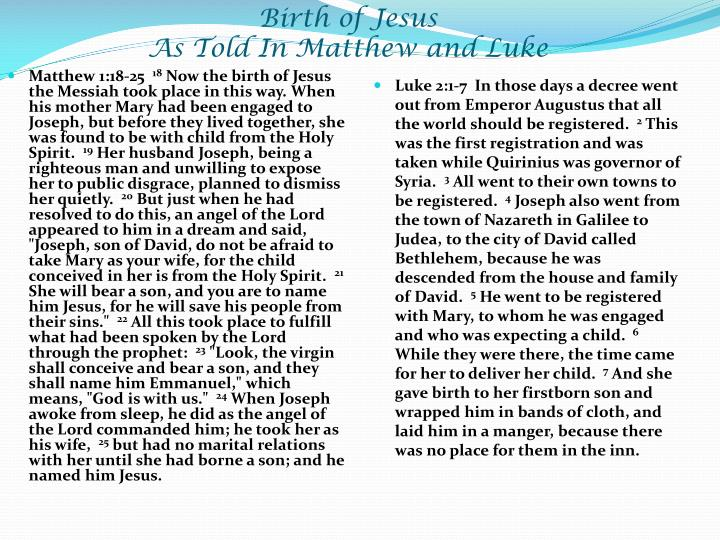 Birth of jesus as told in matthew and luke