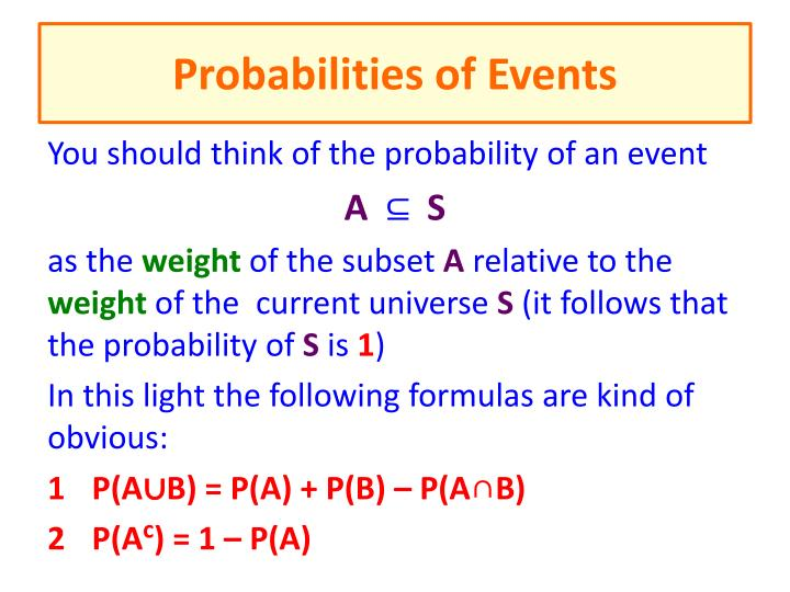 probabilities of events n.