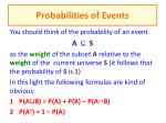 probabilities of events
