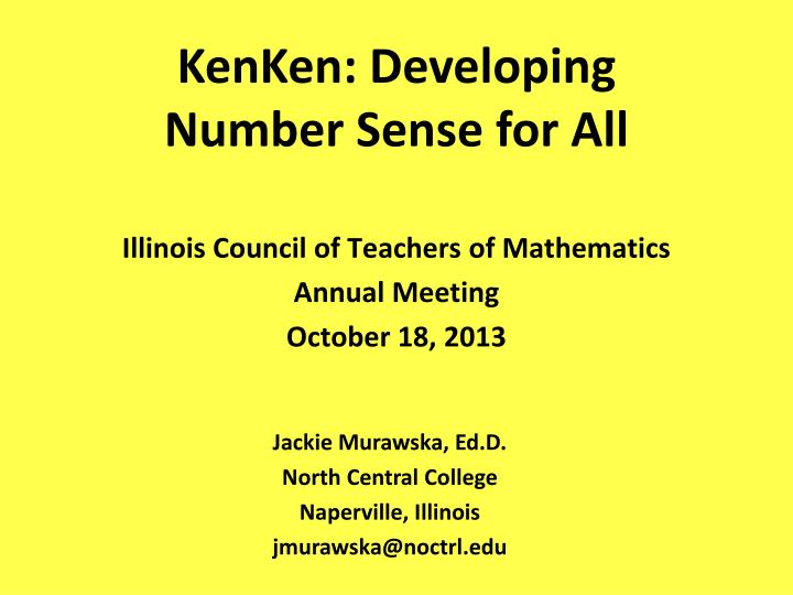 kenken developing number sense for all n.
