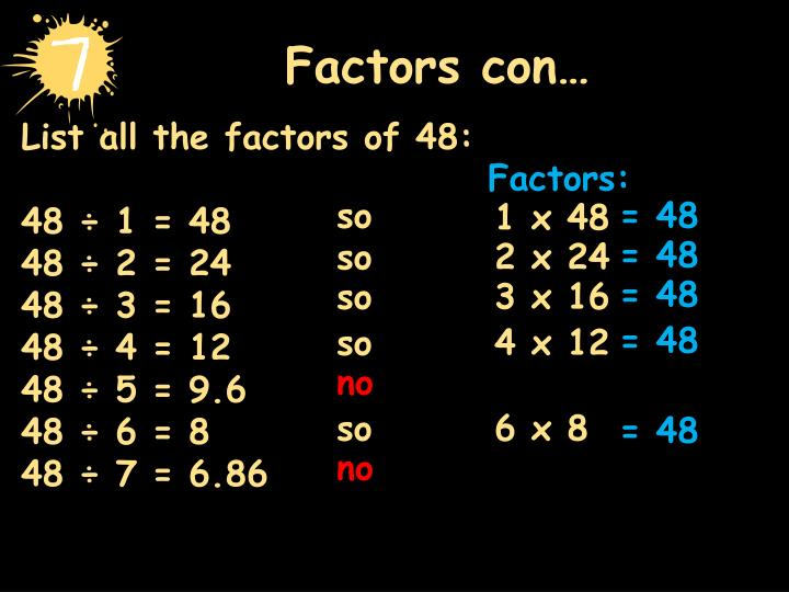 List All The Factors Of 48
