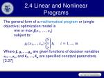 2 4 linear and nonlinear programs