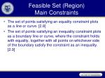 feasible set region main constraints