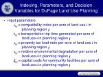 indexing parameters and decision variables for dupage land use planning1